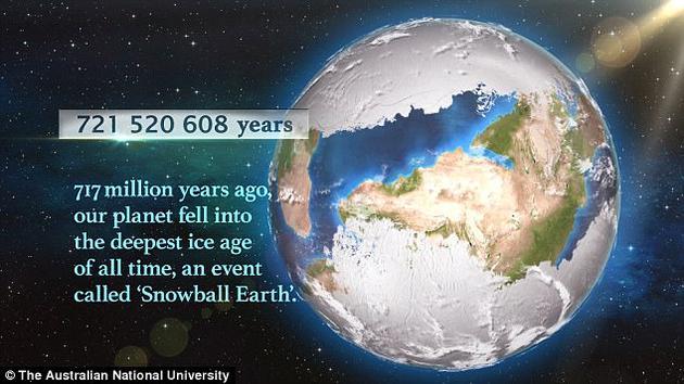 """在7.17亿年前动物出现在地球之前,地球处于冷冻状态,经常被科学家称为""""雪球地球""""。"""