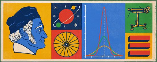 谷歌今日以涂鸦的方式在首页上列出了高斯所取得的成就